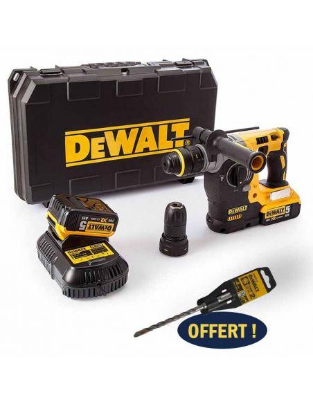 DEWALT DCH274P2 - Perforateur-burineur sans fil 18V SDS-Plus + Coffret TSTAK + 2 batteries 5Ah DCB184 + 1 Chargeur rapide DCB115